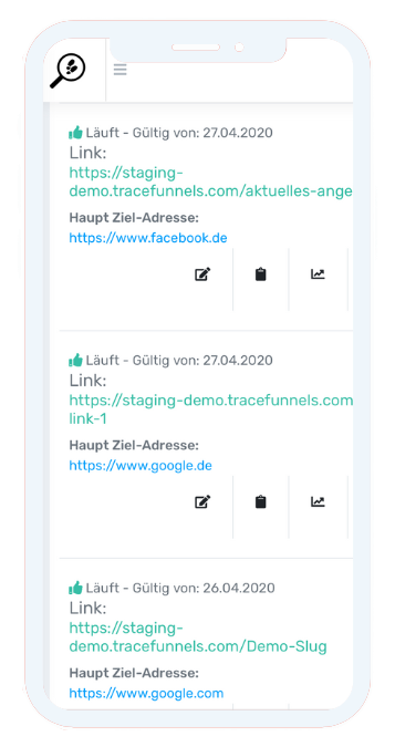 TraceFunnels - mobile View